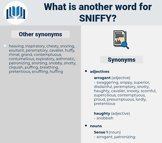 sniffy, synonym sniffy, another word for sniffy, words like sniffy, thesaurus sniffy