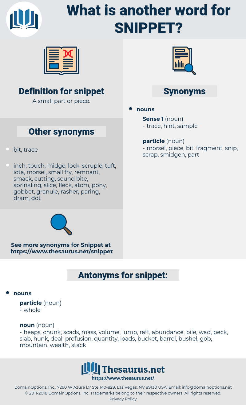 snippet, synonym snippet, another word for snippet, words like snippet, thesaurus snippet