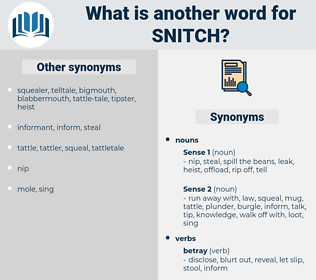 Synonyms for SNITCH, Antonyms for SNITCH - Thesaurus net