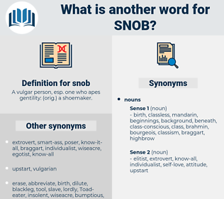 snob, synonym snob, another word for snob, words like snob, thesaurus snob