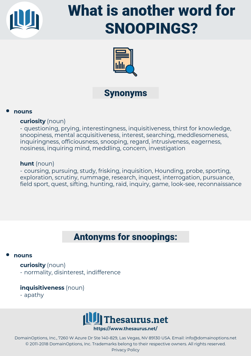 snoopings, synonym snoopings, another word for snoopings, words like snoopings, thesaurus snoopings