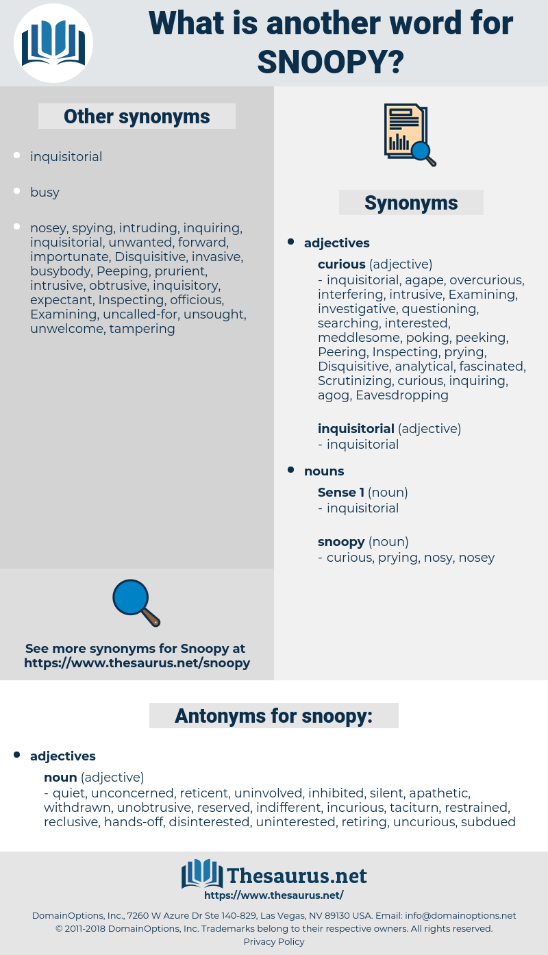 Synonyms for SNOOPY, Antonyms for SNOOPY - Thesaurus net