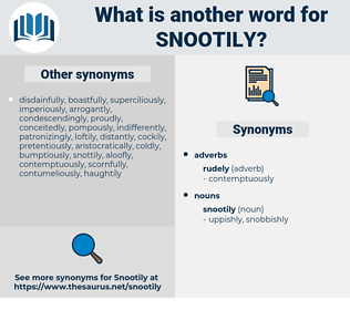 snootily, synonym snootily, another word for snootily, words like snootily, thesaurus snootily