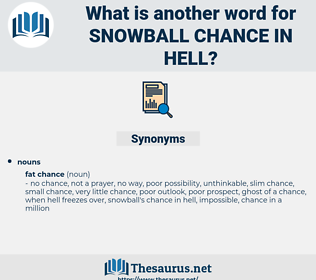 snowball chance in hell, synonym snowball chance in hell, another word for snowball chance in hell, words like snowball chance in hell, thesaurus snowball chance in hell