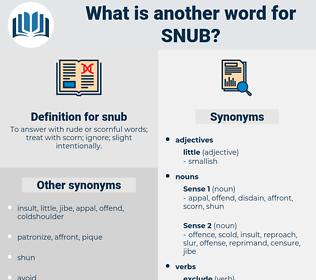 snub, synonym snub, another word for snub, words like snub, thesaurus snub