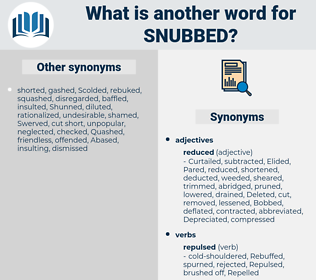 Snubbed, synonym Snubbed, another word for Snubbed, words like Snubbed, thesaurus Snubbed