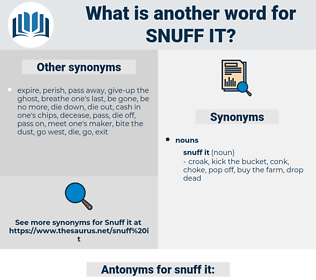 snuff it, synonym snuff it, another word for snuff it, words like snuff it, thesaurus snuff it