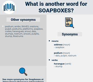 soapboxes, synonym soapboxes, another word for soapboxes, words like soapboxes, thesaurus soapboxes