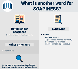 Soapiness, synonym Soapiness, another word for Soapiness, words like Soapiness, thesaurus Soapiness