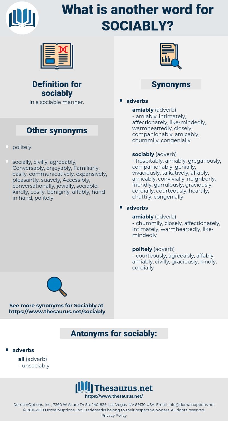 sociably, synonym sociably, another word for sociably, words like sociably, thesaurus sociably