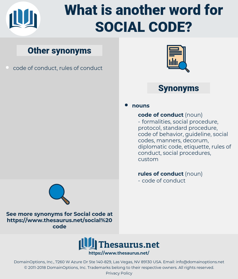 social code, synonym social code, another word for social code, words like social code, thesaurus social code