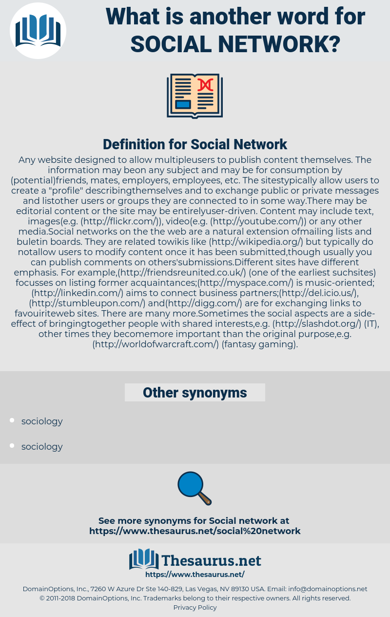 Social Network, synonym Social Network, another word for Social Network, words like Social Network, thesaurus Social Network