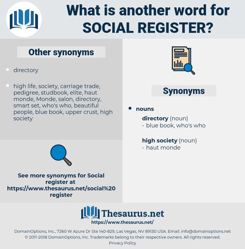 Social Register, synonym Social Register, another word for Social Register, words like Social Register, thesaurus Social Register