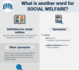 social welfare, synonym social welfare, another word for social welfare, words like social welfare, thesaurus social welfare