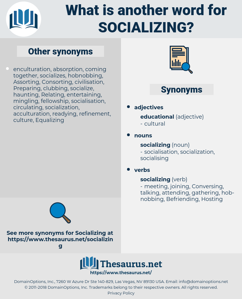 socializing, synonym socializing, another word for socializing, words like socializing, thesaurus socializing
