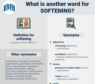 softening, synonym softening, another word for softening, words like softening, thesaurus softening