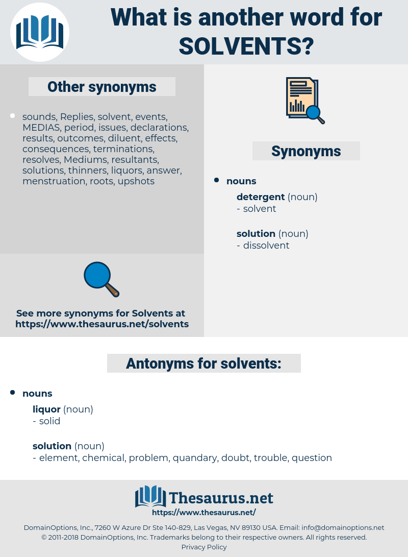 solvents, synonym solvents, another word for solvents, words like solvents, thesaurus solvents