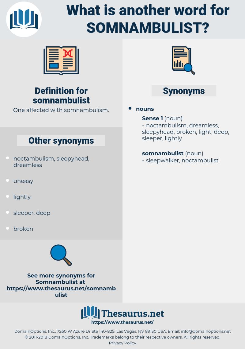 somnambulist, synonym somnambulist, another word for somnambulist, words like somnambulist, thesaurus somnambulist
