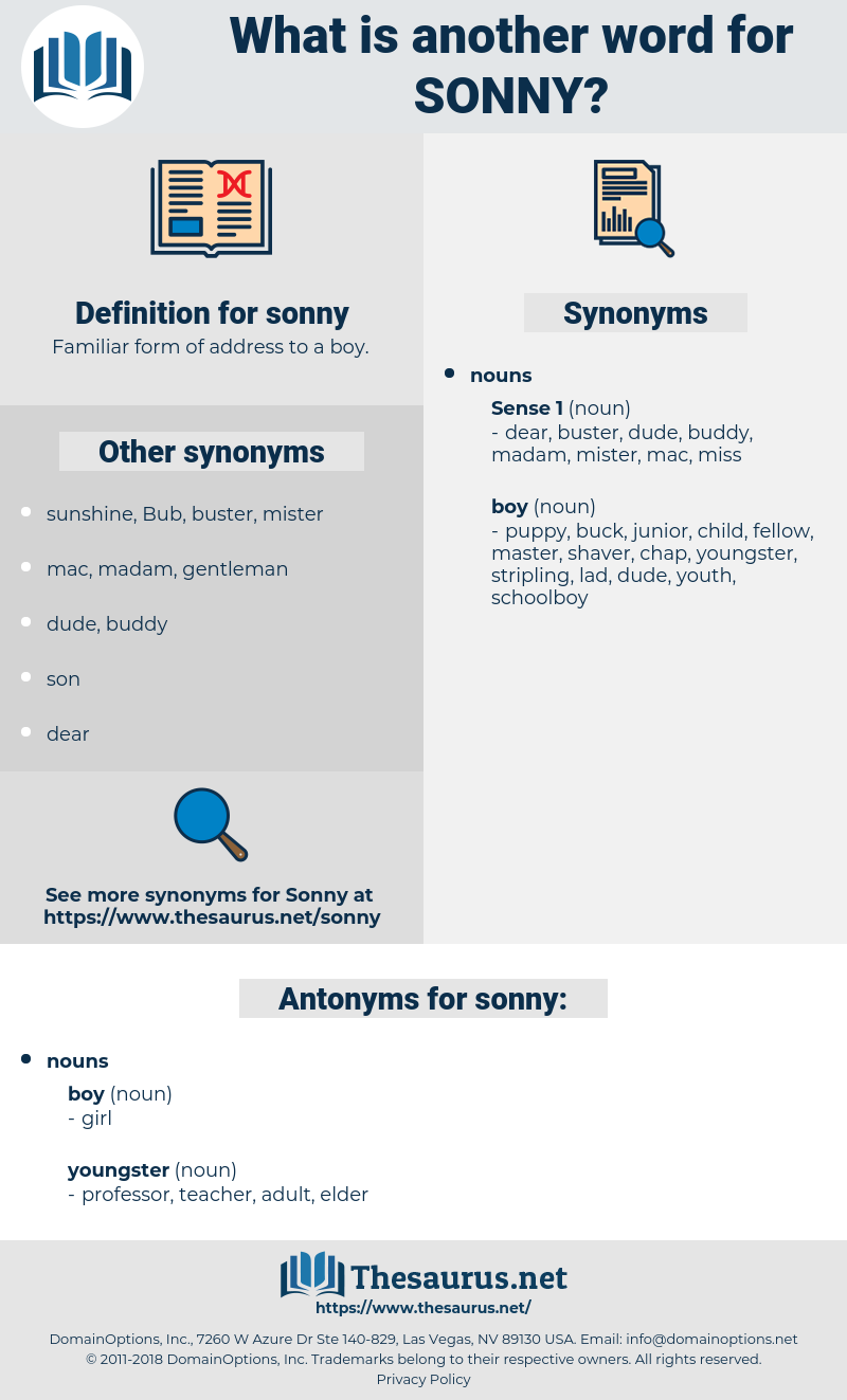 sonny, synonym sonny, another word for sonny, words like sonny, thesaurus sonny