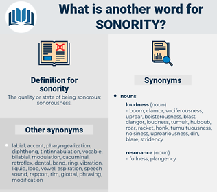 sonority, synonym sonority, another word for sonority, words like sonority, thesaurus sonority