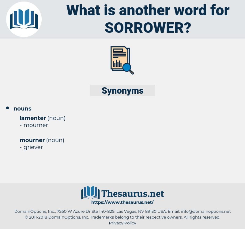 sorrower, synonym sorrower, another word for sorrower, words like sorrower, thesaurus sorrower