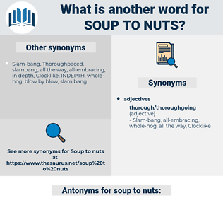 soup to nuts, synonym soup to nuts, another word for soup to nuts, words like soup to nuts, thesaurus soup to nuts