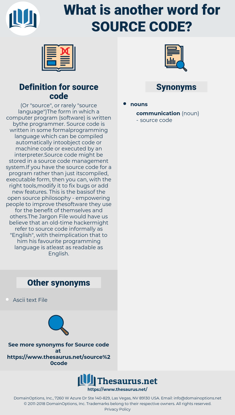 source code, synonym source code, another word for source code, words like source code, thesaurus source code