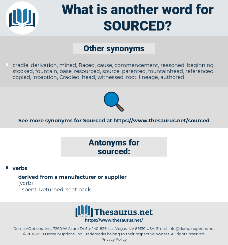 sourced, synonym sourced, another word for sourced, words like sourced, thesaurus sourced