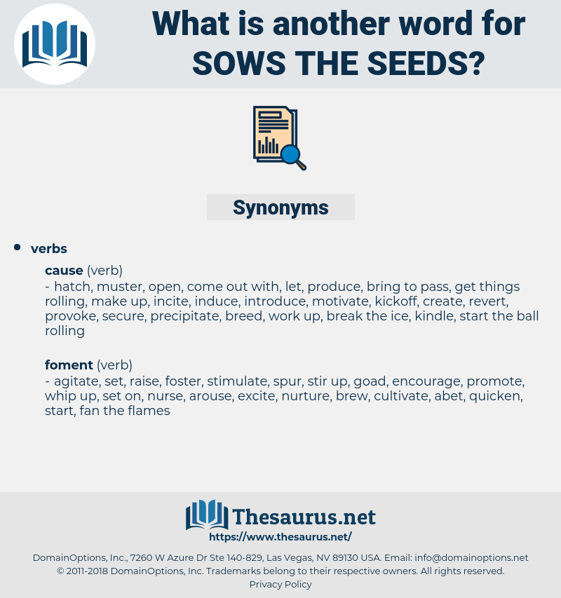 sows the seeds, synonym sows the seeds, another word for sows the seeds, words like sows the seeds, thesaurus sows the seeds