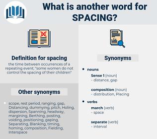spacing, synonym spacing, another word for spacing, words like spacing, thesaurus spacing