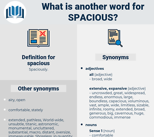 spacious, synonym spacious, another word for spacious, words like spacious, thesaurus spacious