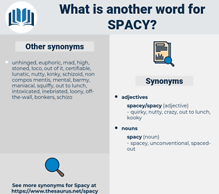 spacy, synonym spacy, another word for spacy, words like spacy, thesaurus spacy