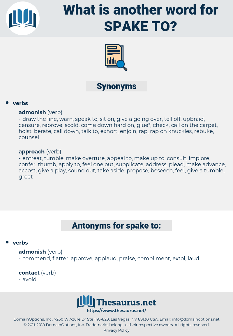 spake to, synonym spake to, another word for spake to, words like spake to, thesaurus spake to