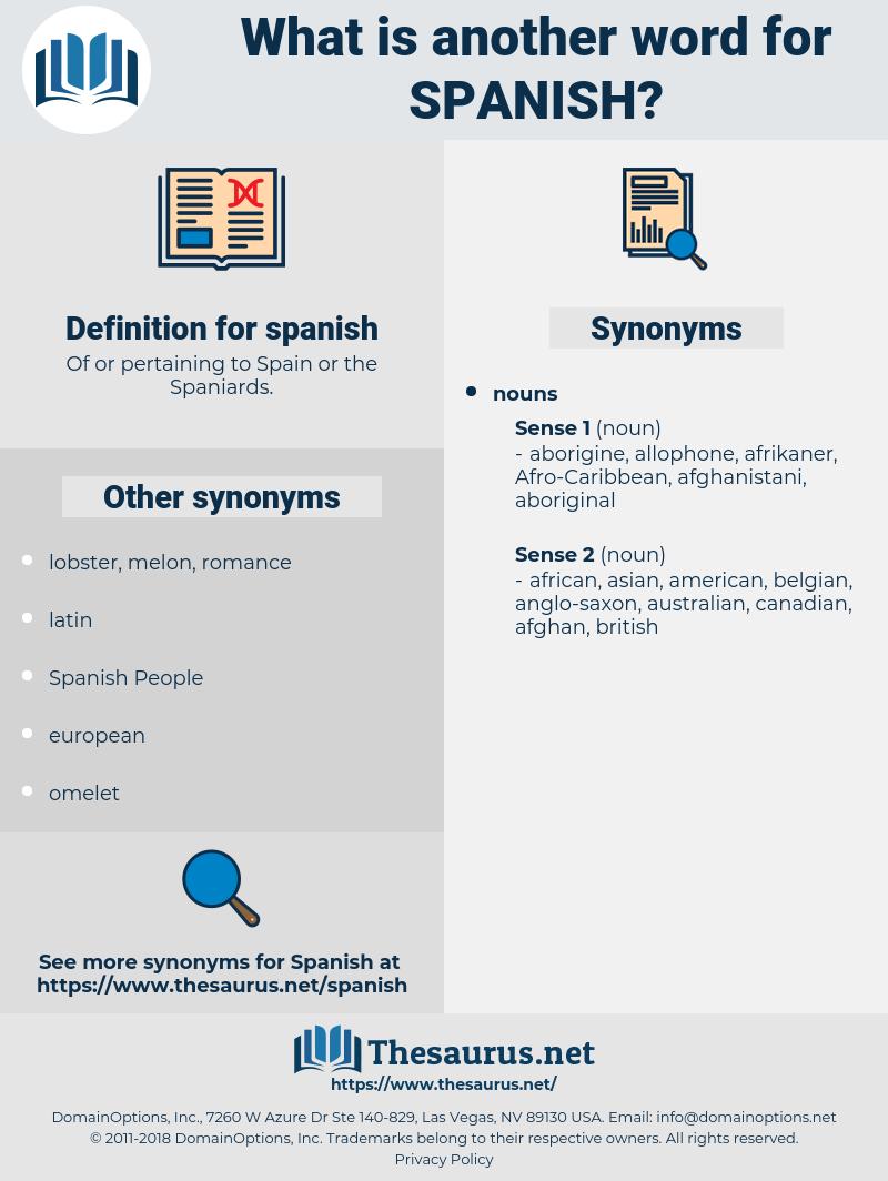 spanish, synonym spanish, another word for spanish, words like spanish, thesaurus spanish