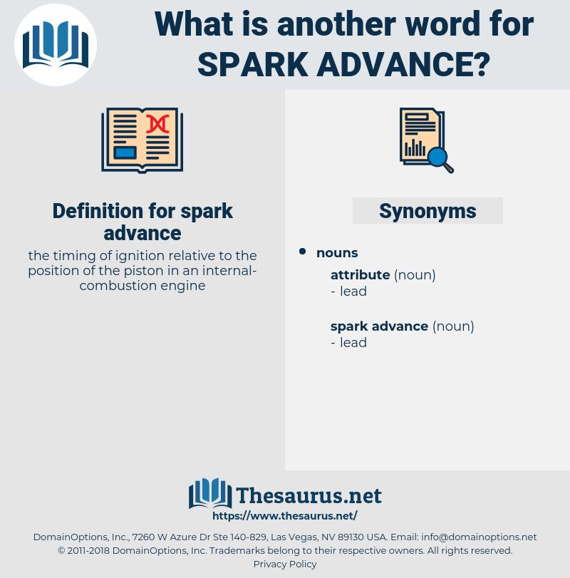 spark advance, synonym spark advance, another word for spark advance, words like spark advance, thesaurus spark advance