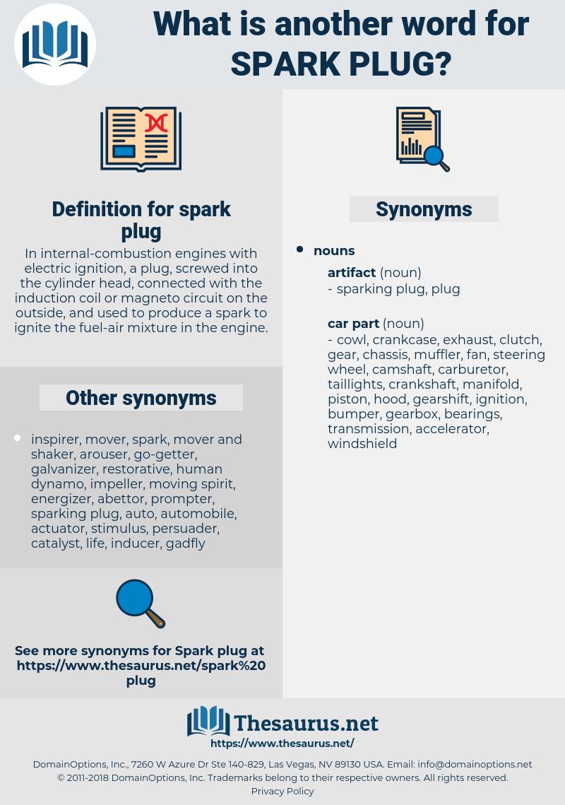 spark plug, synonym spark plug, another word for spark plug, words like spark plug, thesaurus spark plug