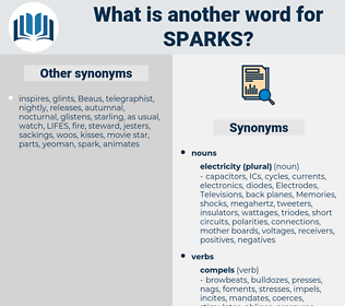 sparks, synonym sparks, another word for sparks, words like sparks, thesaurus sparks