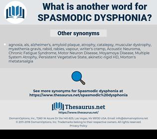 spasmodic dysphonia, synonym spasmodic dysphonia, another word for spasmodic dysphonia, words like spasmodic dysphonia, thesaurus spasmodic dysphonia