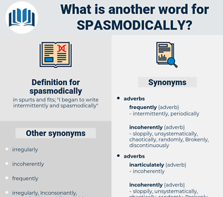 spasmodically, synonym spasmodically, another word for spasmodically, words like spasmodically, thesaurus spasmodically