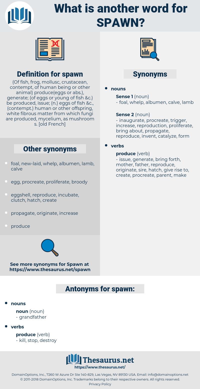 spawn, synonym spawn, another word for spawn, words like spawn, thesaurus spawn