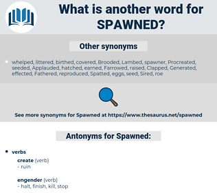 Spawned, synonym Spawned, another word for Spawned, words like Spawned, thesaurus Spawned