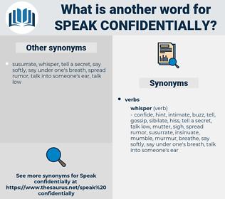 speak confidentially, synonym speak confidentially, another word for speak confidentially, words like speak confidentially, thesaurus speak confidentially