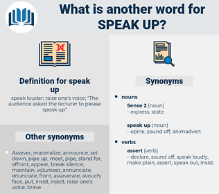 speak up, synonym speak up, another word for speak up, words like speak up, thesaurus speak up