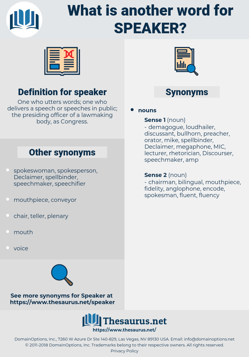 speaker, synonym speaker, another word for speaker, words like speaker, thesaurus speaker