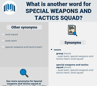 special weapons and tactics squad, synonym special weapons and tactics squad, another word for special weapons and tactics squad, words like special weapons and tactics squad, thesaurus special weapons and tactics squad
