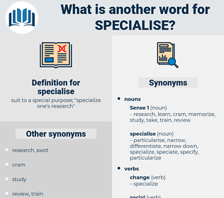 specialise, synonym specialise, another word for specialise, words like specialise, thesaurus specialise