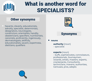 Specialists, synonym Specialists, another word for Specialists, words like Specialists, thesaurus Specialists