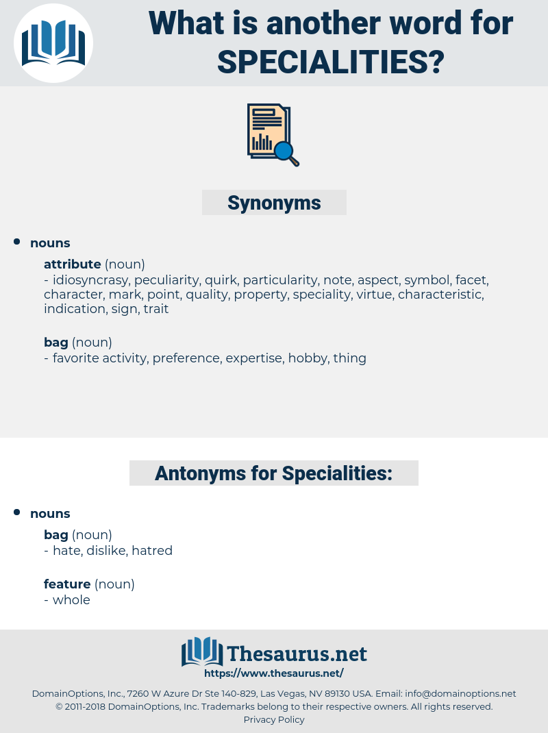 Specialities, synonym Specialities, another word for Specialities, words like Specialities, thesaurus Specialities