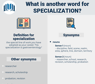 specialization, synonym specialization, another word for specialization, words like specialization, thesaurus specialization