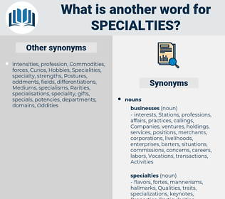 Specialties, synonym Specialties, another word for Specialties, words like Specialties, thesaurus Specialties